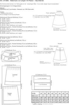 pattern company-01-830 Faltenrock in 2 Längen (60 + 70 cm) mit Passe und Saumblende