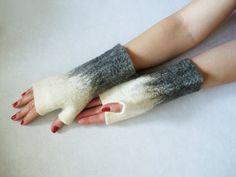 Felted fingerless gloves by 5plus on Etsy, $25.00