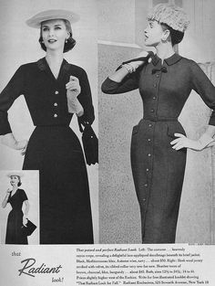 Two timelessly lovely, sophisticated 1950s daywear looks. #vintage #fashion #1950s #dress