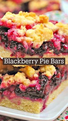 Blueberry Recipes, Fruit Recipes, Pie Recipes, Baking Recipes, Black Berry Recipes, Blackberry Dessert Recipes, Blueberry Bars, Lemon Blueberry Muffins, Blue Berry Muffins