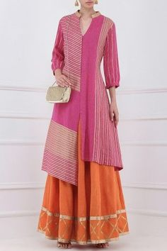 Priya Agarwal presents Orange gota patti embroidered lehenga and magenta kurta set available only at Pernia's Pop Up Shop. Best Formal Dresses, Stylish Dresses For Girls, Stylish Dress Designs, Kurta Designs Women, Blouse Designs, Ethnic Fashion, Indian Fashion, Luxury Fashion, Mens Fashion