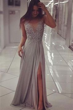 Front Split Prom Dresses,Beading Prom Dress,Silver Gray Prom Dresses,Chiffon Prom Dress,Long Prom Dresses,Prom Dresses For Teens,Modest Prom Dress,Elegat Evening Dresses,Cute Dresses