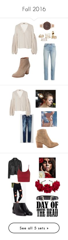 """""""Fall 2016"""" by fashionlover26t ❤ liked on Polyvore featuring Hellessy, Seychelles, Olivia Burton, Yves Saint Laurent, American Eagle Outfitters, ALDO, art, Dayofthedead, Converse and Topshop"""