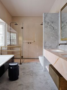 Potts Point Residence by Flack Studio | Yellowtrace Flack Studio, Marble Fireplace Surround, Polished Plaster, Level Homes, French Oak, Australian Homes, Timber Flooring, Wet Rooms, Modern Bathroom Design