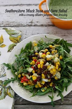 Southwestern Black Bean and Corn Salad with a creamy cilantro jalapeño lime dressing. Add it to your Cinco de Mayo menu!