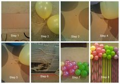 Step by step how to make your own Balloon Cluster Decoration with Streamers. Diy. Party on a budget time!!