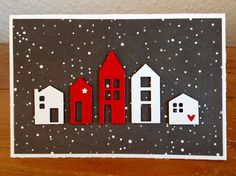 """Hus"" Gummiapan ""13x Frohe Weihnachten"" Klartext Stempel  Designpapier Alexandra Renke New Crafts, Paper Crafts, Tiny Little Houses, Housewarming Card, New Home Cards, Cute Cards, Christmas Diy, Merry Christmas, House Warming"