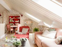 Attic rooms have long ceased to be just a place to store all rubbish and unused things. Today, such spaces under the roof are increasingly becoming not ✌Pufikhomes - source of home inspiration Simple Living Room, Beautiful Living Rooms, Small Living Rooms, Small Furniture, Recycled Furniture, Living Room Plants, Bedroom Loft, Decoration, Decorating Your Home