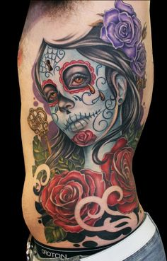 Awesome Sugar Skull Tattoo.