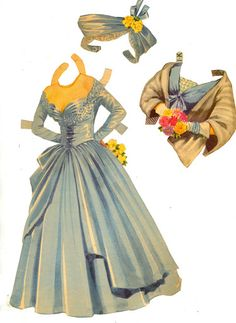 Paper Dolls with Glamour Gowns 1954