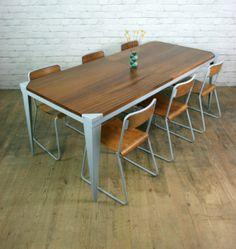 IROKO TEAK VINTAGE INDUSTRIAL LAB SCHOOL DINING KITCHEN TABLE SHOP DISPLAY 60s | eBay