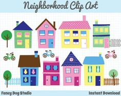 40% off SALE - House Clip Art Neighborhood Clipart Town Clip Art Downloadable Images Clipart Instant Digital Download Graphics