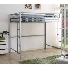 Walker Edison Silver Full Loft Bunk Bed at Lowe's. Maximize your bedroom space, with our premium metal full size loft bed, as it does not take up much floor space. This space-saving loft bed gives you room Loft Bunk Beds, Bunk Beds With Stairs, Kids Bunk Beds, Furniture Ads, Furniture Outlet, Street Furniture, Bedroom Furniture, Furniture Dolly, Furniture Movers