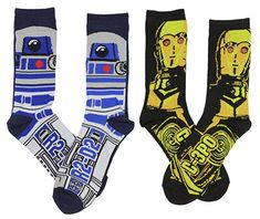 Star Wars Men's & Casual Crew Socks 2 Pack Shoe Size: Polyester / Spandex Machine Wash Cold with like Colors DO NOT Bleach Star War 3, Star Wars Gifts, Star Wars Collection, Star Wars Characters, Crew Socks, Stars, Casual, R2 D2, Geek Gifts