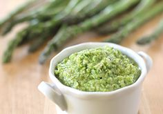 Raw Asparagus Pesto by The Galley Gourmet  *Toss with pasta, slather on a crostini, or use a sandwich spread!