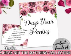 Drop Your Panties Bridal Shower Drop Your Panties Floral Bridal Shower Drop Your Panties Bridal Shower Floral Drop Your Panties Pink BQ24C #bridalshower #bride-to-be #bridetobe
