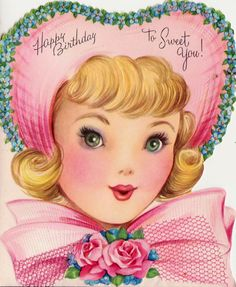 1950s Vintage Happy Birthday To Sweet You Greetings Card