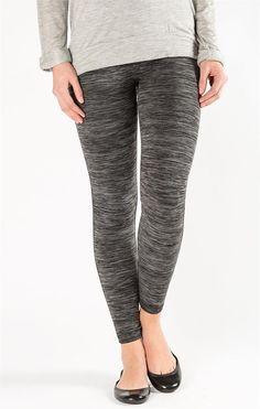 Textured Waistband Fleece Leggings - Black