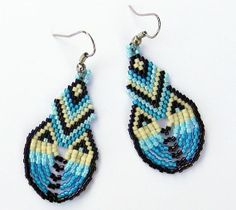 Native American Seed Bead Patterns | Seed bead dangle blue earrings Native American by ... | Beading