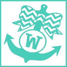 Anchor with Bow Monogram Vinyl Decal - Jodi's Accessories