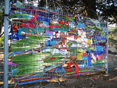 Fence Weaving by i see sheep Fence Weaving, Fence Art, Outdoor Classroom, Forest School, Yarn Bombing, Collaborative Art, Outdoor Art, Recycled Art, Art Club