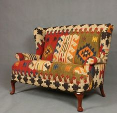 Handwoven Wool Kilim Wingback Sofa armchair chair patchwork