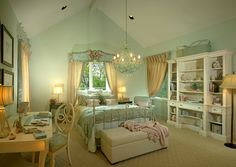 Country French style bedroom in soft mint green