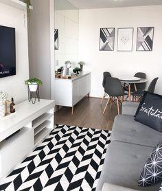 """•• BRU FERREYRA •• on Instagram: """"Muitas formas geométricas em uma foto só? TEMOS!! 🤩🤩  Ângulo que quase nunca mostro, não me perguntem pq, pois acho lindoooo!   Agora…"""" Small Apartment Interior, Condo Interior, Apartment Decorating On A Budget, Apartment Layout, Home Interior Design, Small Room Bedroom, Small Living Rooms, Home Living Room, Home Room Design"""
