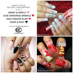 What's your holiday inspiration?   #Sweet & #Simple. #Cute Christmas Sparkle. High #Fashion #Glam. Sleek & Sexy. #christrionails #christrio #nails #nailart #nail #naildesign #acrylicnails