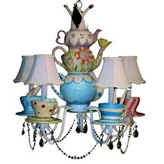 Alice In Wonderland Chandelier - Mad Hatter - Tea Party Decor - Whimsical Lighting on Etsy, $425.00