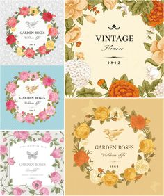 Set of 5 beautifully designed vector vintage card templates with rose flowers for your wedding invitations, floral brochures or product labels. Contains floral frames and place for your text. Free for non-commercial use. Format: .eps and/or .ai stock vector images.…