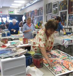 Adults like to finger paint to ..at Dazzio Art Experience....Fun...!!!