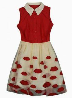 Red Sleeveless Dress w/ White Collar & Tutu Lip Printed Skirt #ustrendy #love #chic #vintage