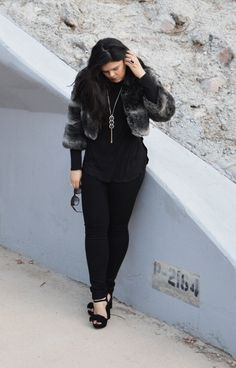 Vintage faux fur cropped jacket, Joe's skinny jeans, Jessica Simpson shoes, tassel necklace, Fendi sunglasses.