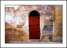 Red Door, Sevilla - #Plaza de Toros, #Seville #Spain - Blank Note Card. Photo of a red door, taken at the famous bullring, Plaza de Toros, in Sevilla, Spain.