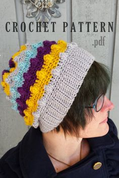 Crochet Pattern Slouchy Beanie  Textured Slouchy Hat  Winter Beanie  Popcorn Hat  Striped Hat  Knit Beanie  PDF Download