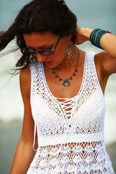TEJER GANCHILLO CROCHET: Vestido Blanco para el Verano, Patron para tejer a crochet o ganchillo