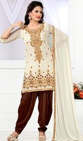 Cream Color Embroidered Georgette Salwar Kameez