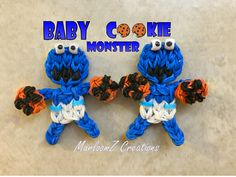 Rainbow Loom Baby Cookie Monster - Sesame Street ( loom bands )