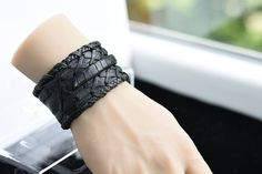 Your place to buy and sell all things handmade Leather Cuffs, Soft Leather, Black Leather, Handmade Leather Jewelry, Leather Material, Cuff Bracelets, My Etsy Shop, Check, Stuff To Buy