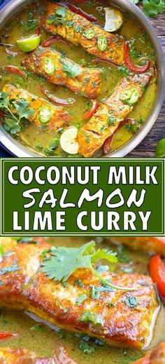 This Easy Salmon Curry recipe is made with coconut milk, curry powder, turmeric, lime juice, and spinach. You can serve this Thai-style green coconut milk curry over rice or cauliflower rice. Coconut Milk Salmon, Coconut Milk Recipes, Coconut Curry, Whole 30 Coconut Milk, Curry Recipes, Healthy Recipes, Thai Recipes, Healthy Fats, Keto Recipes