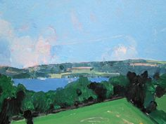 Artist Harry Stooshinoff........looking down into Rice Lake in Ontario from the north shore....a beautiful afternoon in early summer..... This painting is one of many small, intimate landscapes I have created over many years.