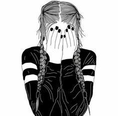 girl drawing black and white Tumblr Girl Drawing, Girl Drawing Easy, Tumblr Drawings, Tumblr Art, Easy Drawings, Girl Drawings, Drawing Ideas, Cute Drawings Of Girls, Black And White Girl