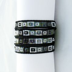 Wrap bracelet with Delica beads