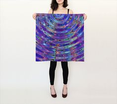 The Ripple Effect VIII, Blueberry - Silk Scarf, Small Square, 26x26