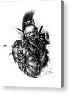 Spartan Warrior Acrylic Print by Xrista Stavrou. All acrylic prints are professionally printed, packaged, and shipped within 3 - 4 business days and delivered ready-to-hang on your wall. Zues Tattoo, Schulterpanzer Tattoo, Norse Tattoo, Viking Tattoos, Samoan Tattoo, Polynesian Tattoos, Sketch Tattoo, Gladiator Tattoo, Tattoo Sleeve Designs