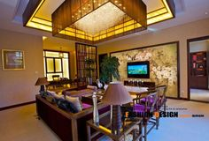 Inspiring Chinese Interior Design Themes: Enchanting Chinese Room Decor With Large Crystal Chendelier Led Strip Lights Also Floral Chinese Wallpaper Murals And Purple Accent Sofa Sets Along With It Cushions Also Armchairs ~ enferd.com Interior Design Inspiration