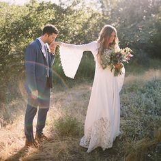 those sleeves! hippie chic wedding dress