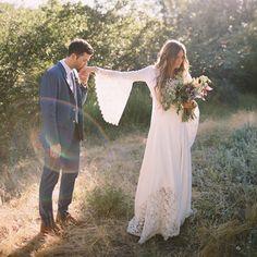 Hippie chic wedding dress.