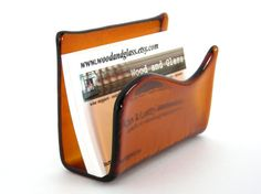 amber stained glass business card holder